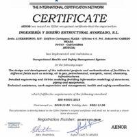 Certificado de Calidad AENOR ISO 45001 - IDEA Ingeniería